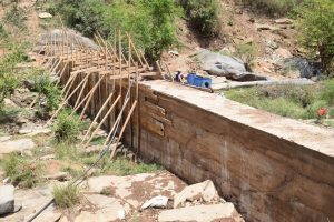 The Water Project:  Framing Sand Dam For Concrete