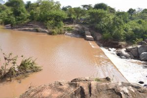 The Water Project:  Water From Recent Rains Gathers Behind The Dam