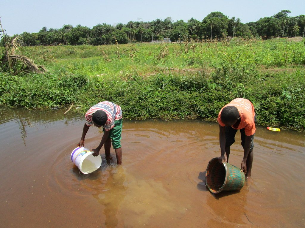 The Water Project : sierraleone19265-fetching-water-at-open-source