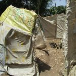 The Water Project: Targrin Health Post -  Improvized Bathing Shelter