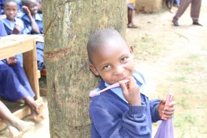 The Water Project:  A Girl With Her New Toothbrush And Toothpaste