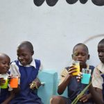 The Water Project: Ndiani Primary School -  Water Flowing