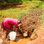 The Water Project: Mutao Community, Kenya Spring -  Fetching Water