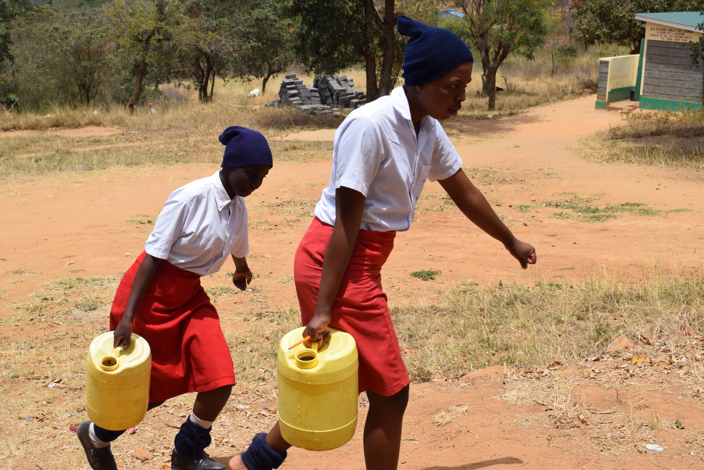 The Water Project : kenya19238-students-carrying-water