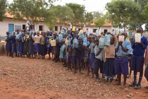 The Water Project:  Students With Their Water Containers That They Bring Each Day