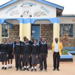 The Water Project: Kiundwani Secondary School -  Students And Teacher In Front Of School