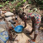 The Water Project: Transmitter, #14 Port Loko Road -  Collecting Water At Improvized Spring
