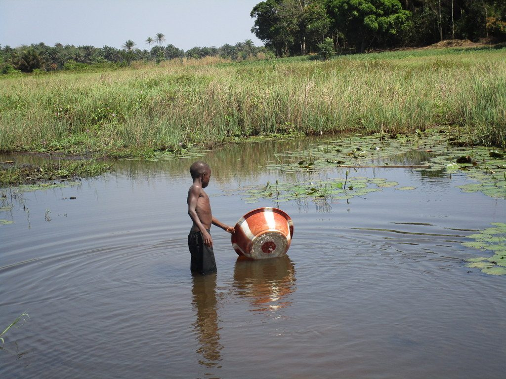 The Water Project : sierraleone19273-fetching-water-from-swamp