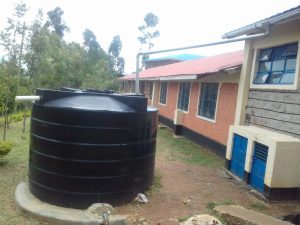 The Water Project:  Small Plastic Tank Attached To Lab