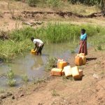 The Water Project: Kaukuswi Community -  Collecting Water
