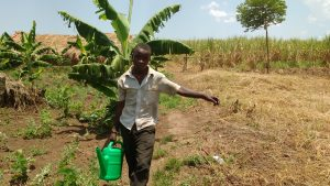 The Water Project:  Kato Sylvester Watering Cabbage Garden