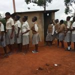 The Water Project: Kimangeti Girls' Secondary School -  Waiting In Line At Latrines