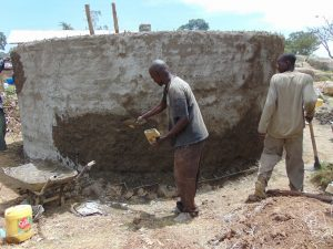 The Water Project:  Plastering The Outside