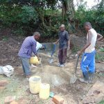 The Water Project: Kambiri Community, Sachita Spring -  Mixing Cement