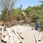 The Water Project: Mbau Community B -  Dam Scaffolding In Place And Cement Curing