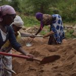 The Water Project: Ndithi Community A -  Women Digging