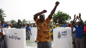 The Water Project:  Mr David S Conteh School Principal Celebrating Safe Drinking Water