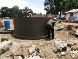 The Water Project:  Nearly Complete Well Pad And Wall