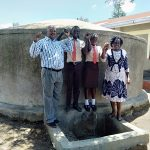 The Water Project: Shibale Secondary School -  The Principal Mr Were Webukha Linda Onyango Saniation Secretary Fabian Khakame The Saniation Prefect And Karen Maruti Wash Staff