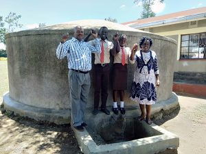The Water Project:  The Principal Mr Were Webukha Linda Onyango Saniation Secretary Fabian Khakame The Saniation Prefect And Karen Maruti Wash Staff