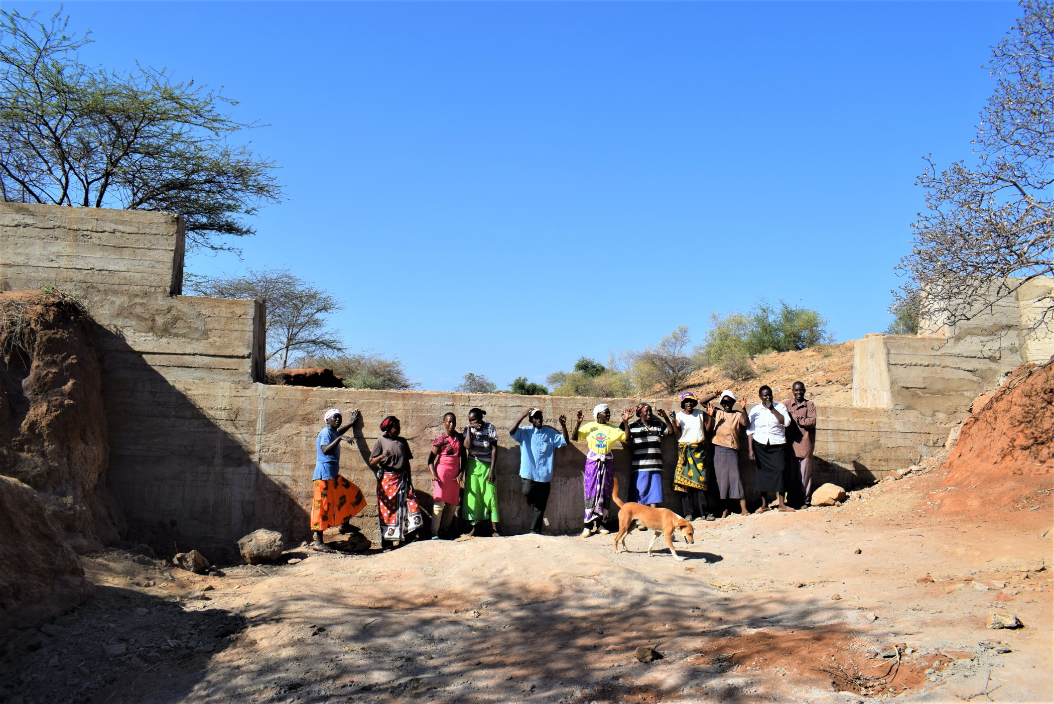 The Water Project : kenya19193-shg-members-at-the-dam