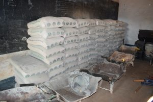 The Water Project:  Cement Bags Stored For Tank Construction