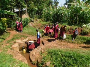 The Water Project:  Students Arrive At Spring