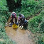 The Water Project: Munenga Community, Francis Were Spring -  Collecting Water At The Spring