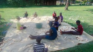 The Water Project:  Children Shelling Maize