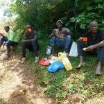 The Water Project: Mutao Community, Kenya Spring -  Artisan And Laborers Re Energizing After Work