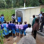 The Water Project: Kapchorwa Primary School -  Handwashing Demonstration Outside Latrines