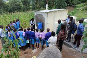 The Water Project:  Handwashing Demonstration Outside Latrines