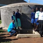 The Water Project: Musabale Primary School -  Students And Staff At The Rain Tank