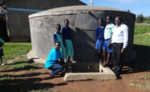 The Water Project:  Students And Staff At The Rain Tank