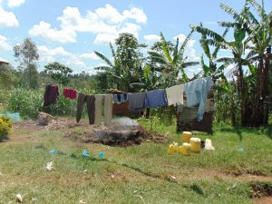 The Water Project:  Clothesline And Charcoal Pit Smoking