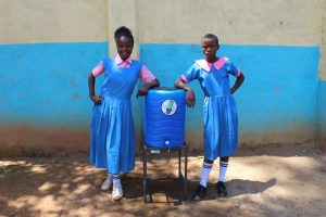 The Water Project:  Girls With Handwashing Station