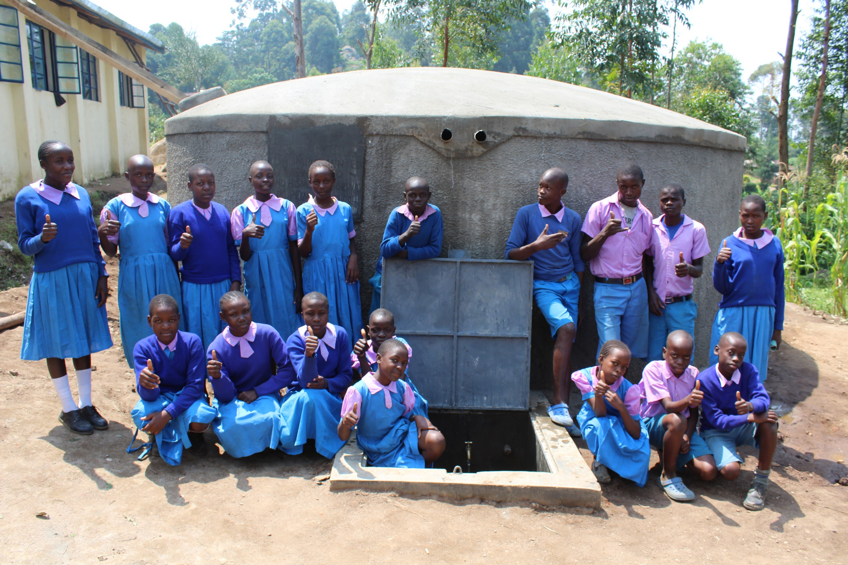 The Water Project : 26-kenya19058-students-with-completed-tank