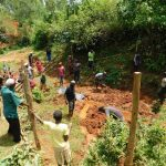 The Water Project: Mutao Community, Kenya Spring -  Large Community Turn Out To Help
