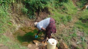 The Water Project:  Selestine Lusimba Spring Landowner Fetching Water
