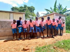 The Water Project:  Boys In Front Of Latrines