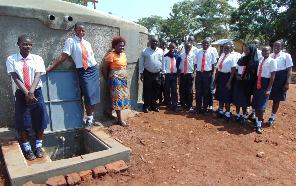 The Water Project : 33-kenya19054-students-and-staff-at-the-rain-tank