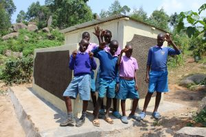 The Water Project:  Boys Outside Their New Latrines