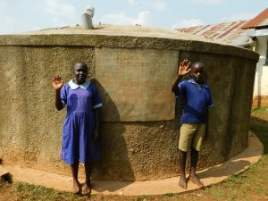 The Water Project:  Students At Back Of Rain Tank