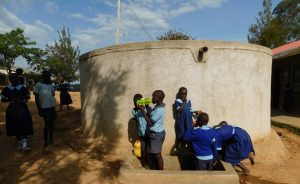 The Water Project:  Students Fill Up At The Rain Tank