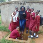 The Water Project: Shikhondi Girls Secondary School -  Laura And Students At The Rain Tank