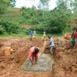 The Water Project: Mutao Community, Kenya Spring -  Foundation Laying