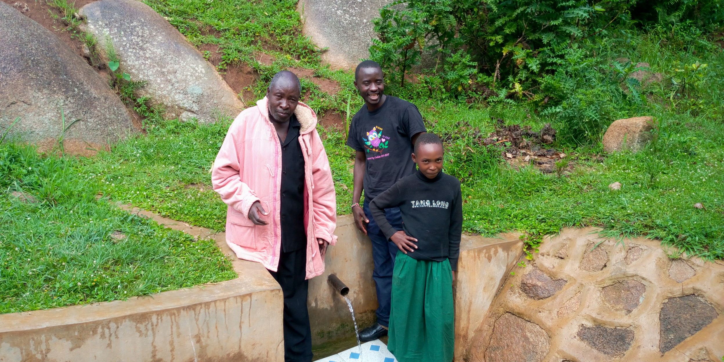The Water Project : 5-kenya18093-joseph-with-field-officer-erick-wagaka-and-stacy