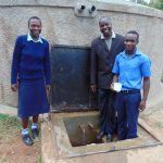 The Water Project: Kamuluguywa Secondary School -  Rebecca Mr Luvembe And Another Student At The Rain Tank