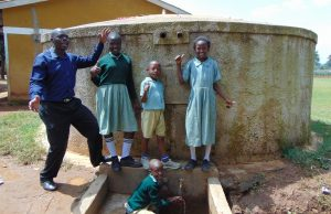 The Water Project:  Students And Staff At Rain Tank