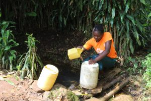 The Water Project:  Agnes Fetching Water From The Spring